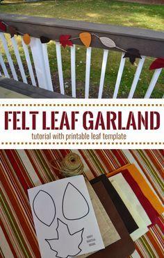 DIY Felt Leaf Garland Tutorial with printable leaf template- Easy no-sew leaf garland perfect for fall decorating #cbias #LoveAmericanHome #ad