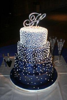 Шикарный синий свадебный торт