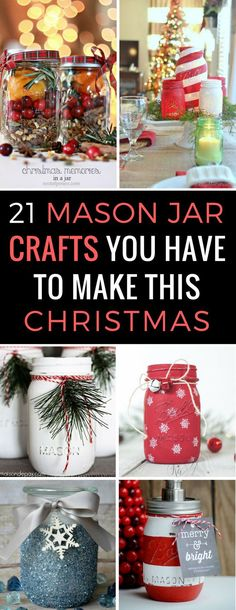 holiday crafts Christmas Mason Jar Crafts - If you want some festive DIY ideas to decorate your home for the Holidays you need to see these wonderful craft ideas! Easy to make and inexpensive - the kind of craft I love! Mason Jar Christmas Crafts, Jar Crafts, Christmas Fun, Holiday Crafts, Christmas Decorations, Christmas Ideas To Make, Easter Crafts, Christmas Presents, Handmade Christmas