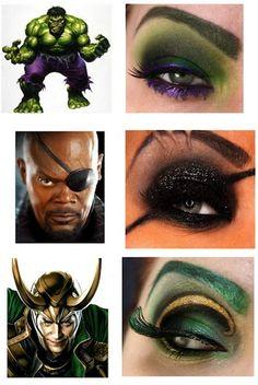 superhero eye shadow hulk, nick fury and loki