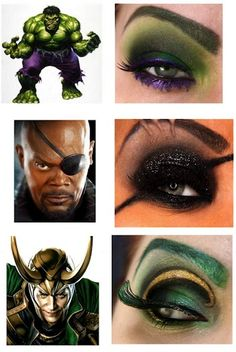 superhero eye shadow hulk, nick fury and loki