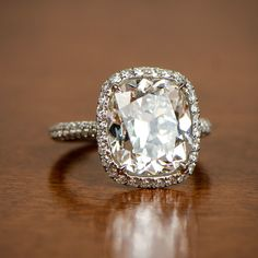 A beautiful 5 carat cushion cut diamond engagement ring. Part of the Estate Diamond Jewelry Collection.