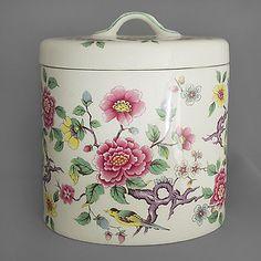 James Kent vintage Storage Pot & Lid, Chinese Rose c1940-50s FREE post UK