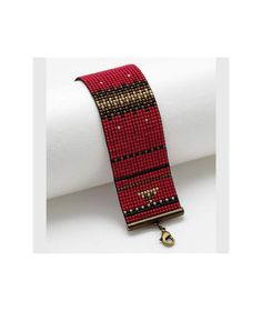Bracelet manchette perles japonaises Gala Rouge - noir collection tissage