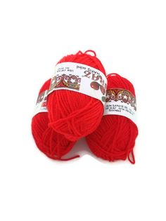 3 red   mini Skeins specialacryliclace crochet3 by ArtofSuppliers, $3.00