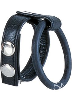 Ball Spreader Adjustable Leather Strap With Ring Large  Black from www.mysextoydeals.com
