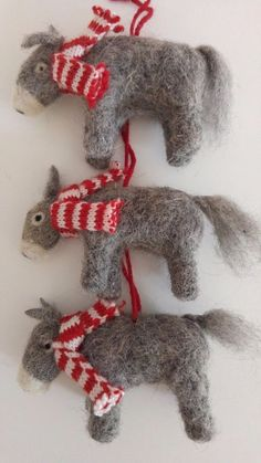 Set of 3 DONKEY handcrafted felted wool Christmas tree decorations NEW  | eBay
