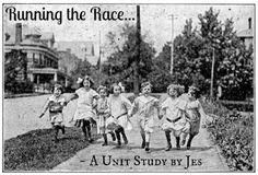 Running the Race, vintage artwork, children running, 1920s, 1930s
