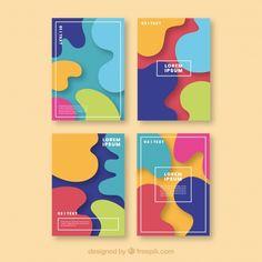 Colorful cover collection with bubble shapes Free Vector Web Design, Shape Design, Flyer Design, Branding Design, Book Cover Design, Book Design, Mise En Page Web, Hansel Y Gretel, Powerpoint Design Templates