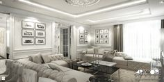 Beżowe wnętrze salonu - zdjęcie od ArtCore Design - Salon - Styl Glamour - ArtCore Design
