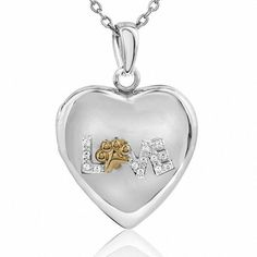 """#BFCM #CyberMonday #Zales - #Zales Aspca® Tender Voices® Diamond Accent """"love"""" Heart Locket in Sterling Silver and 10K Gold Plate - AdoreWe.com"""