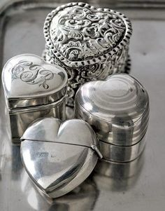 Silver Heart Shaped containers