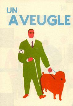 Un aveugle Blexbolex Illustrators, Character Design, Eclectic Art, Graphic Illustration, Retro Illustration, Screen Printing, Vintage Graphics, Space Illustration, Graphic Art