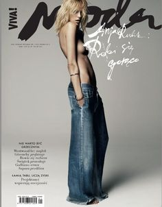 Agnieszka Scibior styles a super sexy Anja Rubik in sleek, androgynous modernism for Viva! Moda's April issue. Claudia Knoepfel and Stefan Indlekofer are behind the lens for 'Androg_Anja. Denim Editorial, Editorial Layout, Editorial Design, Editorial Fashion, Anja Rubik, Viviane Sassen, All Jeans, Denim Jeans, Fashion Cover