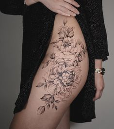 "As per usual"" sleeve tattoos, body art tattoos, thigh sleeve, bum tatt Flower Hip Tattoos, Floral Thigh Tattoos, Flower Tattoo Meanings, Flower Tattoo Foot, Leg Tattoos, Body Art Tattoos, Sleeve Tattoos, Bum Tattoo, Cover Tattoo"