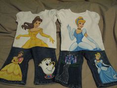 Custom Painted Disney Princess Infant  6 m to 12 m choice of Cinderella, Belle,  Sleeping Beauty, Ariel,shirt and 2 Character Jeans set. $50.00, via Etsy.