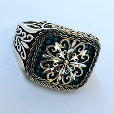 Top Quality Carved 925 S. Silver Turquoise Men's Ring Sz 11.5 us #n270 fr.resize | eBay