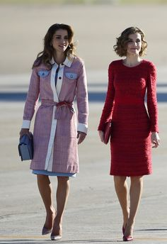 Here's How Queen Rania of Jordan and Queen Letizia of Spain Do Airport Style