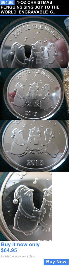 Bullion: 1-Oz.Christmas Penguins Sing Joy To The World Engravable Coin Silver .999+Gold BUY IT NOW ONLY: $64.95