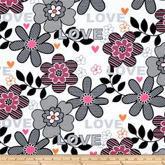 Kanvas Think Pink Pop Flower White from @fabricdotcom  Designed by Greta Lynn for Kanvas, this fabric is perfect for quilting, apparel and home decor accents. Colors include pink, hot pink, grey, black and white.