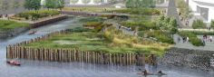 New Stapleton Waterfront Community Project, New York  Rendering of the new esplanade, with restored wetlands