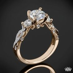 18k Rose Gold Verragio Twisted Shank 3 Stone Engagement Ring from the Verragio Insignia Collection.