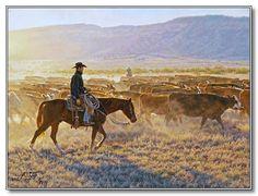 """❦ """"Dusty Dawn"""" Western Artist Tim Cox - Cowboy Art - Ranch Art"""