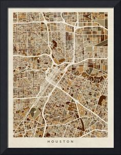 City of Houston wall art map art poster high resolution