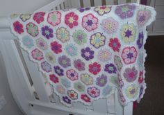 Crochet african flower baby blanket, I used leftover colours from other projects for this.