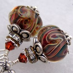 The Color Wonder- Artisan Boro Lampwork and Sterling Earrings- Cynensemble
