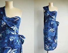 1432041f3523 Vintage 50s Alfred Shaheen Dress / 1950s Hawaiian Sarong Wrap Sundress Tiki  Print Cobalt Navy Blue