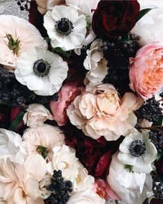 Beautiful Wedding Bouquet | Anemones | Carnations | Pink and White and Red Color Scheme