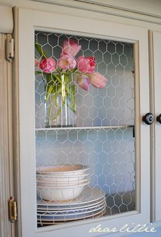 Shabby Chic - update old storage units with a lick of paint and chicken wire