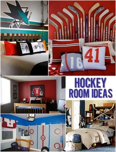 Cool Hockey-Themed Room Ideas for Kids. Love the hockey bed when he becomes a toddler