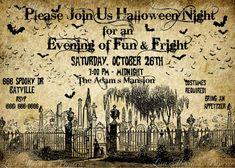 halloween graveyard invitation handmade by LisaMariesPaperie