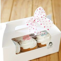 White Cupcake Boxes Rectangle Cake Box with Window by HappyLei, $0.99