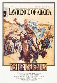 A great poster from the award-winning movie Lawrence of Arabia! Starring Peter O'Toole, Alec Guinness, and Anthony Quinn - epic cinema at its best! Need Poster Mounts. Classic Movie Posters, Movie Poster Art, Classic Movies, Films Cinema, Cinema Posters, Old Movies, Vintage Movies, Love Movie, Movie Tv