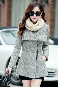 Fashion temperament Slim thin cashmere coat LK1211DI
