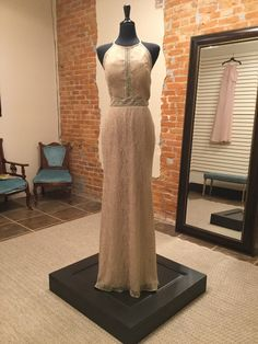 Size 12 (Runs Small)  Lace bridesmaids dress with high neckline and cutout detail   Modern bridesmaids dresses in neutral color. Modern Bridesmaid Dresses, Lace Bridesmaid Dresses, Neutral Colors, Size 12, Neckline, Boho, Bridal, Detail, Formal