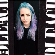 Love Gemma styles new hair - purple and blue - from bleach london