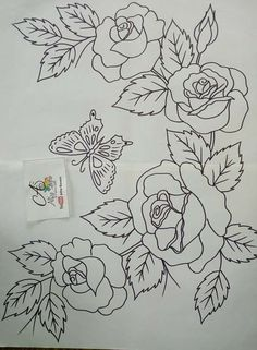 Grand Sewing Embroidery Designs At Home Ideas. Beauteous Finished Sewing Embroidery Designs At Home Ideas. Rose Embroidery, Hand Embroidery Patterns, Embroidery Stitches, Fabric Paint Designs, Flower Coloring Pages, Foil Art, Embroidery Transfers, Fabric Painting, Art Drawings