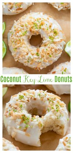 Fluffy and flavorful Key Lime Coconut Donuts are baked, not fried, and ready in less than 30 minutes! These Key Lime Coconut Donuts are . Breakfast Recipes, Dessert Recipes, Baking Recipes, Brunch Recipes, Coconut Recipes, Lime Desserts, Baked Donut Recipes, Cupcake Recipes, Lime Recipes