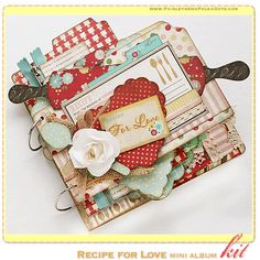 Recipe for Love Mini Album Kit, complete with instructions, by PaisleysandPolkaDots.com for a limited time featured at www.scrapclubs.com