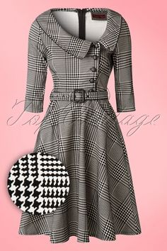 The 50s Lilly Swing Dress in Houndstooth by Vixen is an elegant dress with a classy houndstooth print!  Classy ladies, beware; this beauty is truly a must-have! Beautifully fitted top featuring an asymmetrical neckline, rounded fold over collar, a row of black faux leather buttons, 3/4 sleeves and black faux leather piping. The waist is perfectly emphasized by the detachable fabric belt from where it's ending into a flattering semi-swing skirt which hits just below the knee with a h...