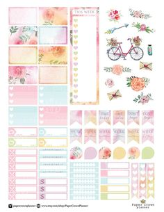 Printable Watercolor Floral Planner Stickers/Planner Stickers for use with Erin Condren Life Planner/Weekly Theme Kit/Planner Sticker Kit - ~~Happy~Planner~~Tagebuch~~Diary♥♥ To Do Planner, Free Planner, Erin Condren Life Planner, Planner Pages, Weekly Planner, Happy Planner, Planner Inserts, Printable Planner Stickers, Journal Stickers