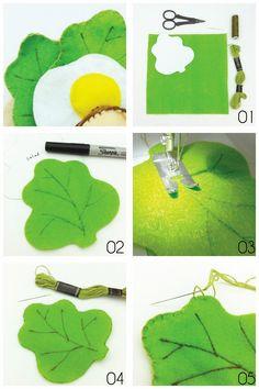 Happy Pills Studio: DIY Felt Food : Salad Leaf