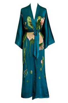 Handpainted Crane Kimono Robe