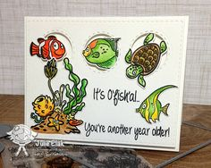 YNS Supplies: Fishy Fun stamp and die sets Birthday Words, Peek A Boos, Under The Sea, December, Cute, Cards, Underwater, Stamping, Card Ideas