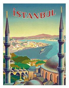 istanbul,turkey,minarets,mosque,uzmen,constantinople,bosphorus,vintage travel poster,retro,poster art,vintage advertising,vintage travel,