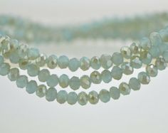 Rondelle Faceted Crystal Glass Beads Aqua Champagne 3x4mm -BZ04-116 / 145Pcs